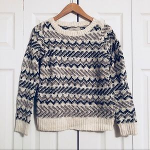 LOFT Gray and White Wool Sweater S
